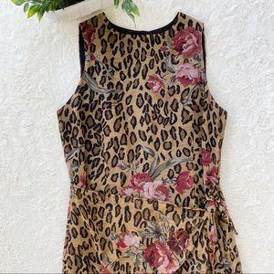 Vintage jones New York leopard floral wrap dress